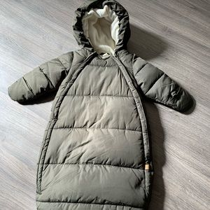 Dark green snow suit for baby